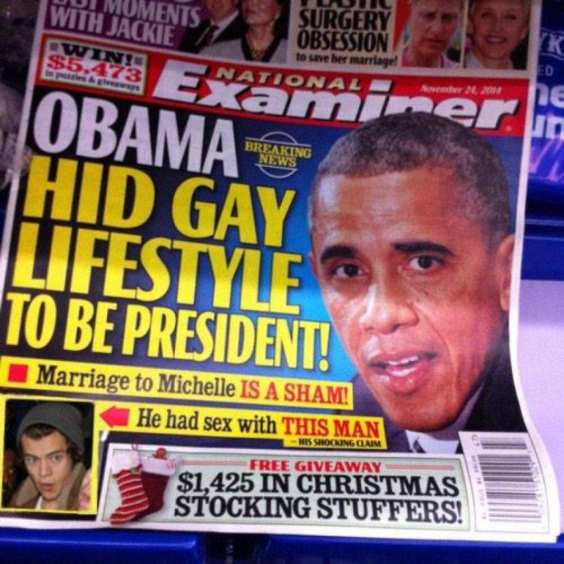 """Una portada falsa del diario """"National Examiner"""" afirmaba que el mandatario había tenido sexo con Styles Foto:Twitter"""