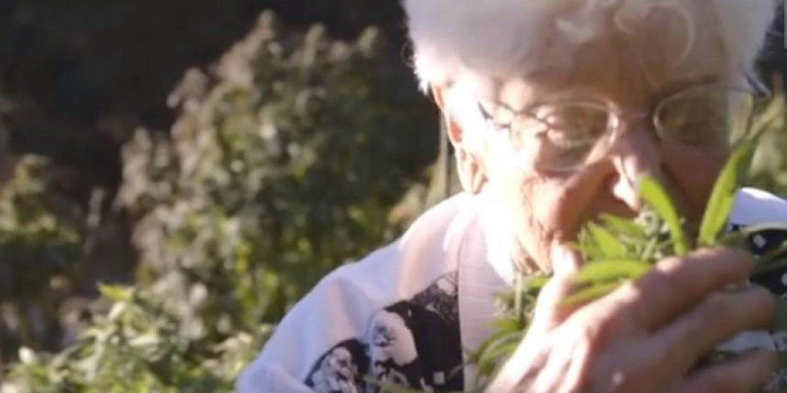 """En la foto: Aurora Leveroni, mejor conocida como """"Nonna marihuana"""" Foto:Vía Youtube: Munchies"""