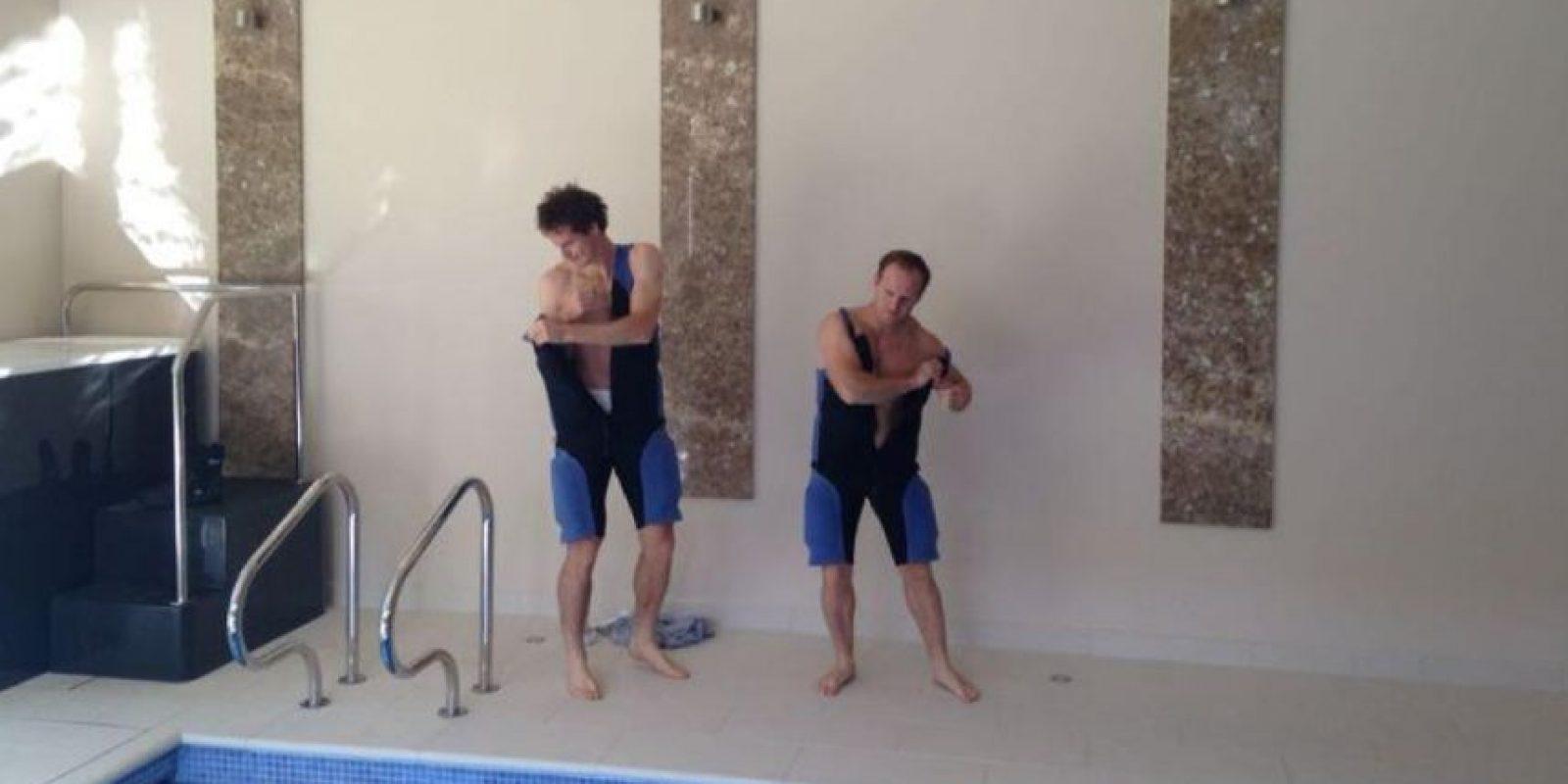 Murray a punto de comenzar a nadar. Foto:twitter.com/andy_murray