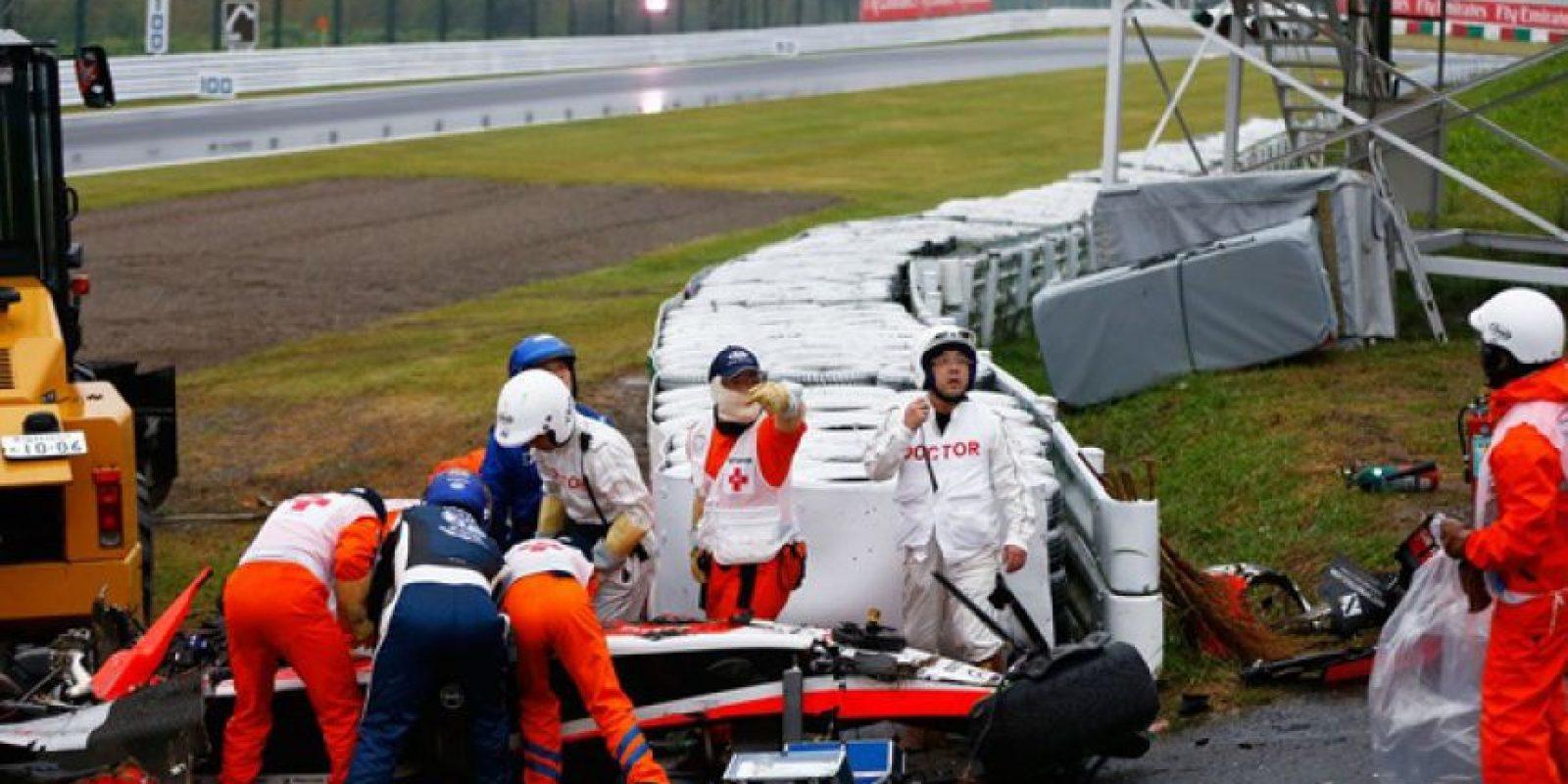 Jules Bianchi tuvo un grave accidente en el GP de Japón de la F1 Foto:Getty