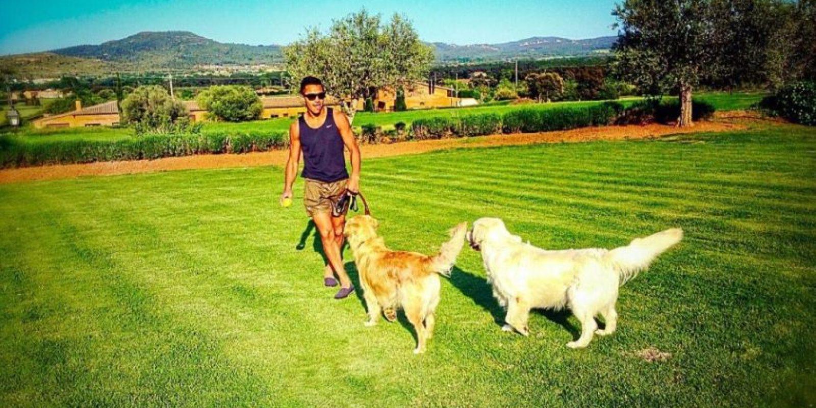 Sánchez con sus mascotas. Foto:twitter.com/Alexis_Sanchez