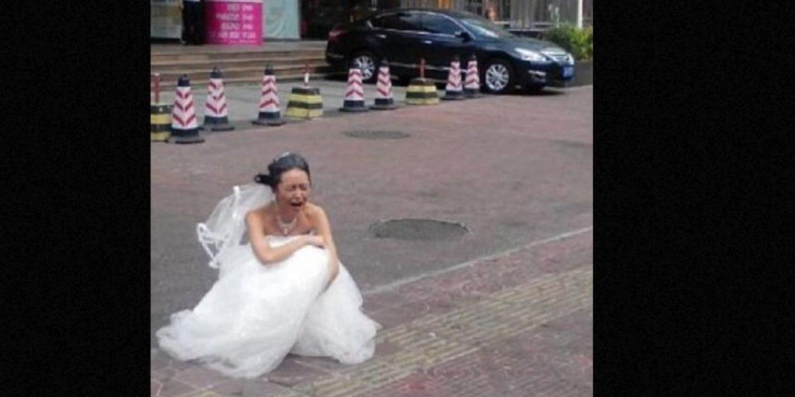 Esta pobre novia china no lo podía creer. Foto:Weibo