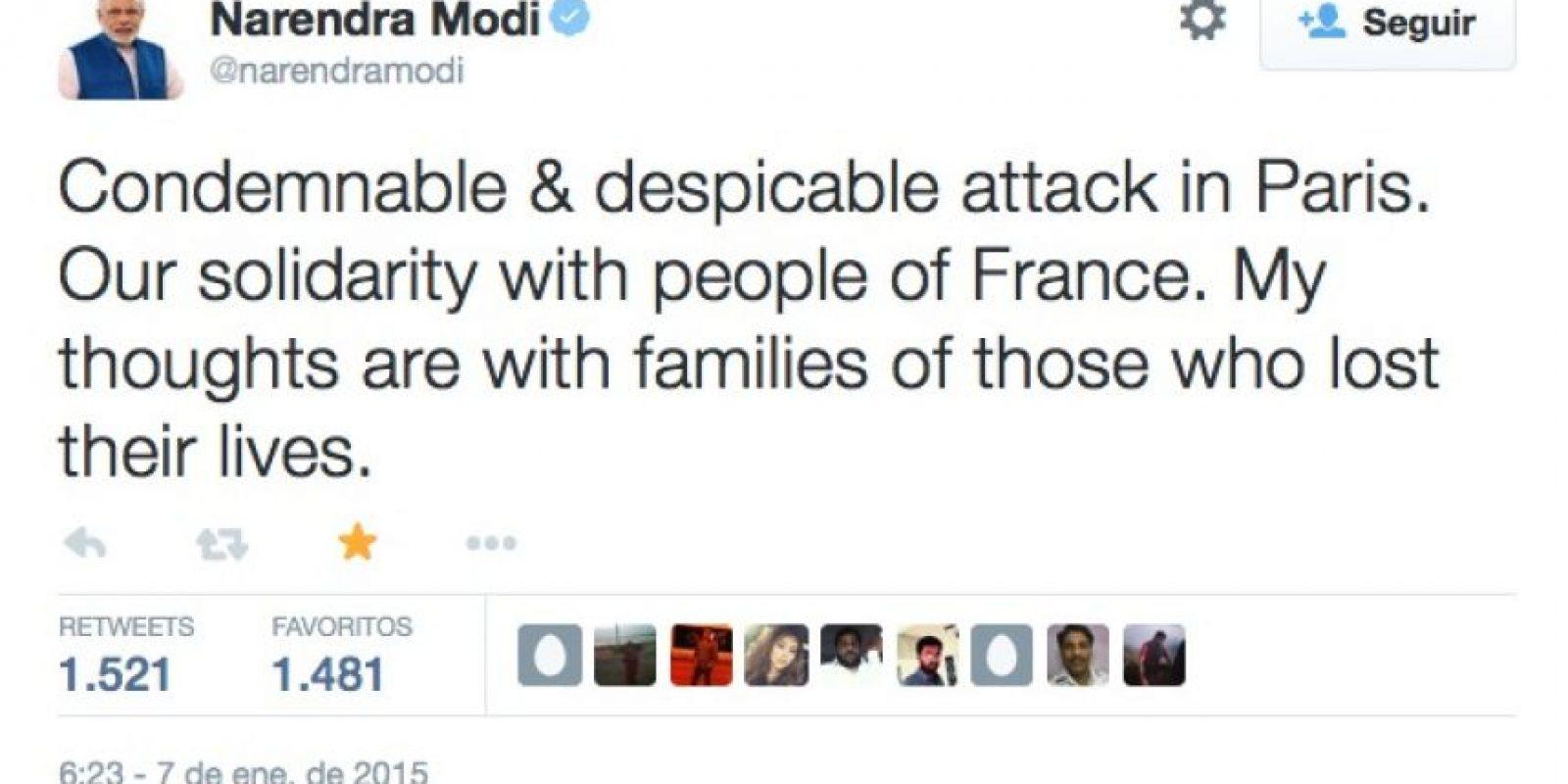 """Narendra Modi, Primer Ministro de India: """"Ataque condenable y despreciable en París. Nuestra solidaridad con el pueblo de Francia. Mis pensamientos están con las familias de los que perdieron sus vidas"""" Foto:Twitter"""