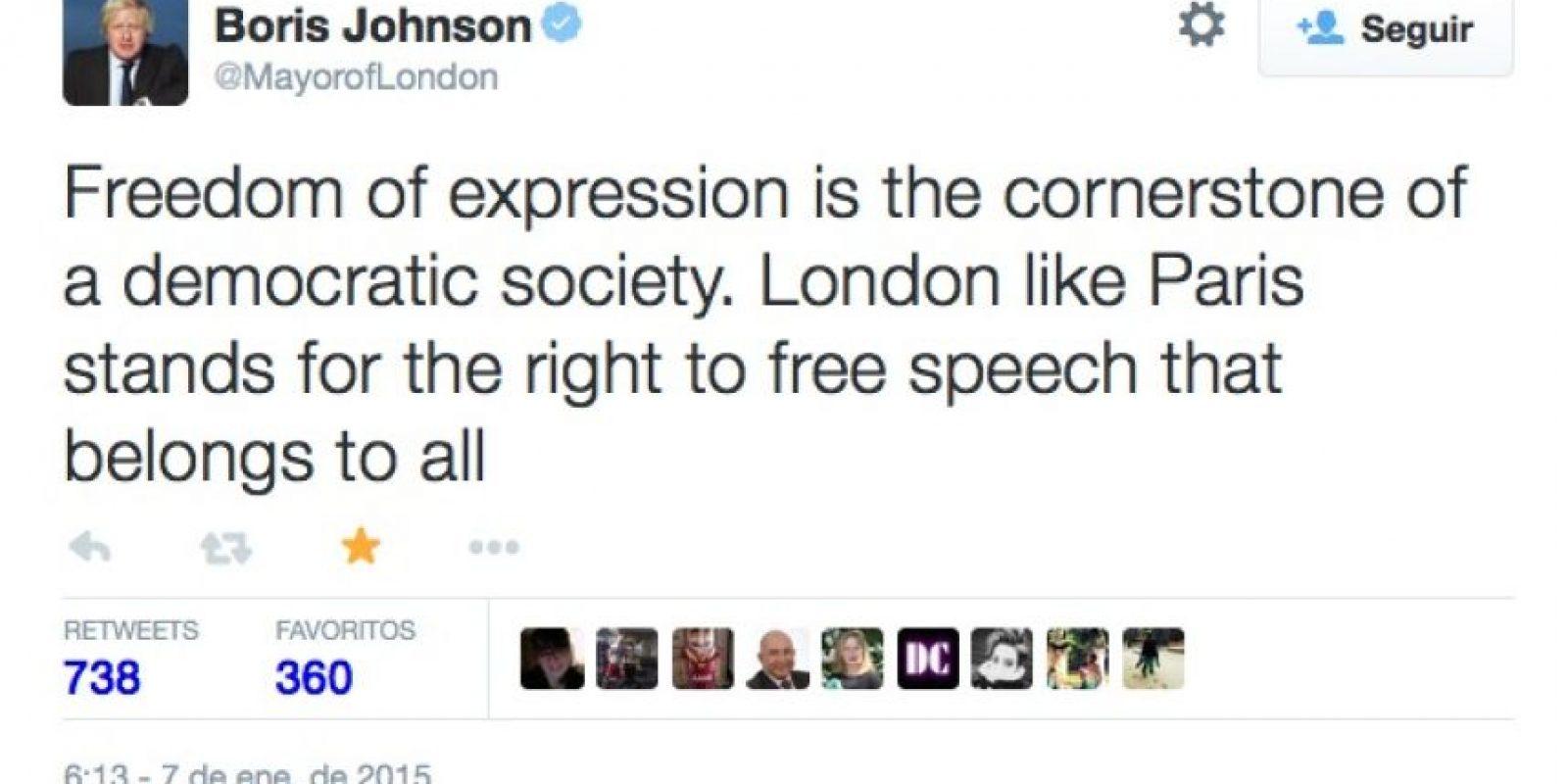 """Boris Johnson, alcalde de Londres: """"La libertad de expresión es la piedra angular de una sociedad democrática. Londres, al igual que París, apoya el derecho a la libertad de expresión, que le pertenece a todos"""". Foto:Twitter"""