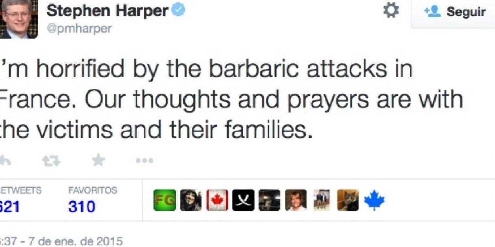 """Stephen Harper, Primer Ministro de Canadá: """"Estoy horrorizado por los barbáricos ataques en Francia. Nuestras oraciones están con las víctimas y sus familias"""". Foto:Twitter"""