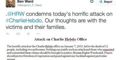 """Benjamin Ward, director de Human Right Watch: """"Nada puede justificar un ataque de esta magnitud"""" Foto:Twitter"""