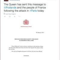 """Reina Isabel II de Inglaterra: """"Príncipe Phillip y yo enviamos nuestras sinceras condolencias a las familias"""" Foto:Twitter"""