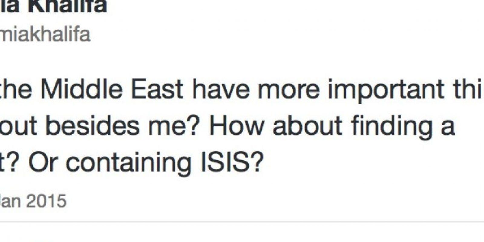 Mia dice que importa más ISIS u otras cosas. Foto:Mia Khalifa/Twitter