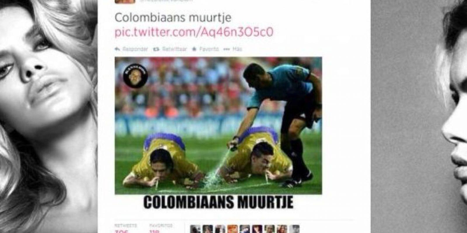 En 2014, en pleno Mundial de Fútbol, la actriz holandesa Nicolette Van Dam puso este meme sobre la Selección Colombiana de Fútbol, relacionando al equipo con el estigma de drogas de aquel país. Hubo tanto revuelo, que Van Dam dimitió a su cargo en la UNICEF como Embajadora de Buena Voluntad. La Cancillería colombiana también sentó su voz de protesta. Foto:Twitter