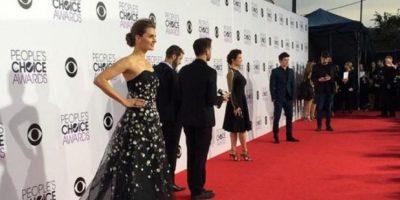 Stana Katic, con un modelo más apropiado para otras galas. Foto:Getty Images