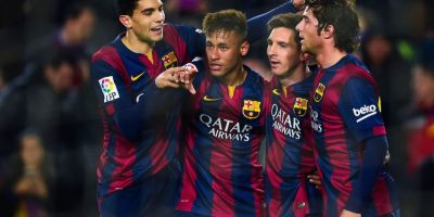 Los futbolistas del Barcelona siguierron festejando. Foto:Getty Images
