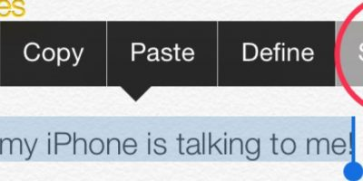 """Escuchar determinado texto. Para escuchar lo que escribieron, seleccionen el texto escrito y opriman en la opción """"Leer"""". Foto:vía iosguide.com"""