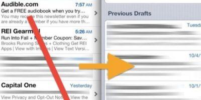 Acceso rápido a borradores de correos electrónicos. Dentro de la aplicación, mantengan pulsado el botón de redactar en la esquina inferior derecha y verán los borradores que tienen pendientes. Foto:vía cdn.oxdaily.com