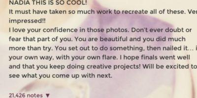 Le dijo que amaba su confianza por las fotos y le deseó mucha suerte en sus exámenes finales. Quedó encantada. Foto:Tumblr