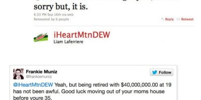 """A Frankie Muniz, conocido por 'Malcolm', lo atacaron diciéndole: """"Actúas raro"""". Este respondió: """"Sí, pero retirarse a los 19 con 40 millones de dólares no es tan raro. Buena suerte mudándote de la casa de tu madre a tus 35"""" Foto:Twitter"""