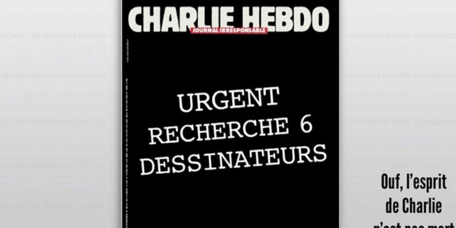 """En Twitter ha circulado una posible portada del semanario atacado en París. Esta sería su próxima edición. Con el humor negro que les caracteriza, titularían """"Charlie Hebdo, un semanario irresponsable. Se buscan 6 caricaturistas"""" Foto:Twitter"""