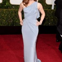 Amy Adams, impecable en pastel y drapeado de Versace. Muchos la critican por repetirse. Foto:Getty Images