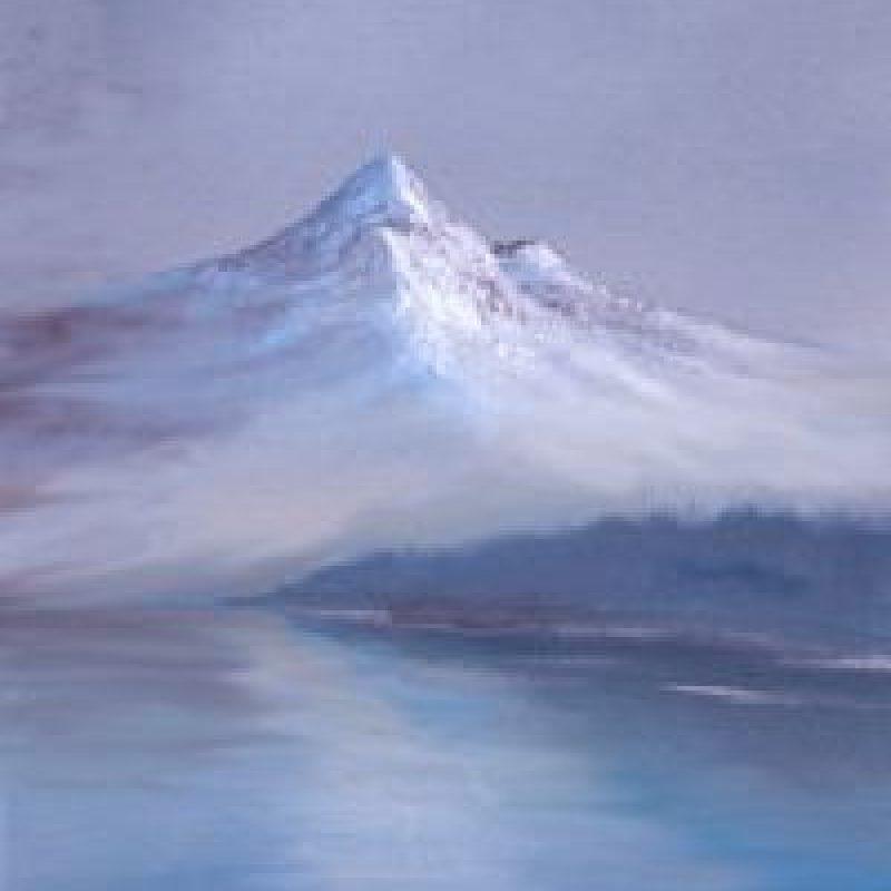 Paso 7: Con un pequeño pincel y pintura blanca dibuje las líneas de agua y ondulaciones. Foto:Facebook/The Joy of Painting