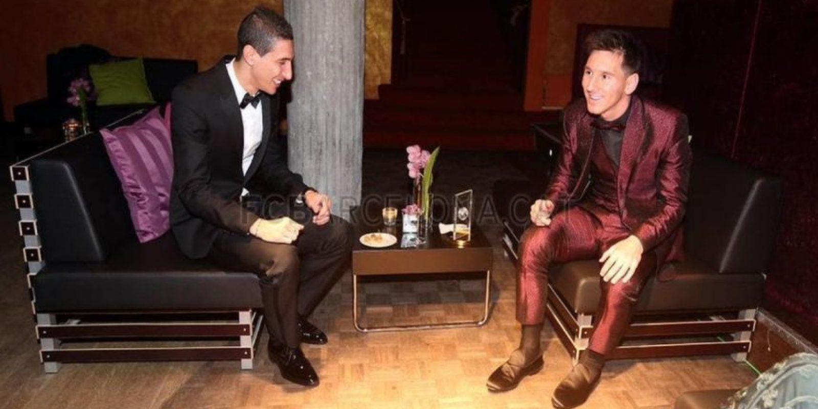 Di María y Messi después de la gala de premiación. Foto:Barcelona