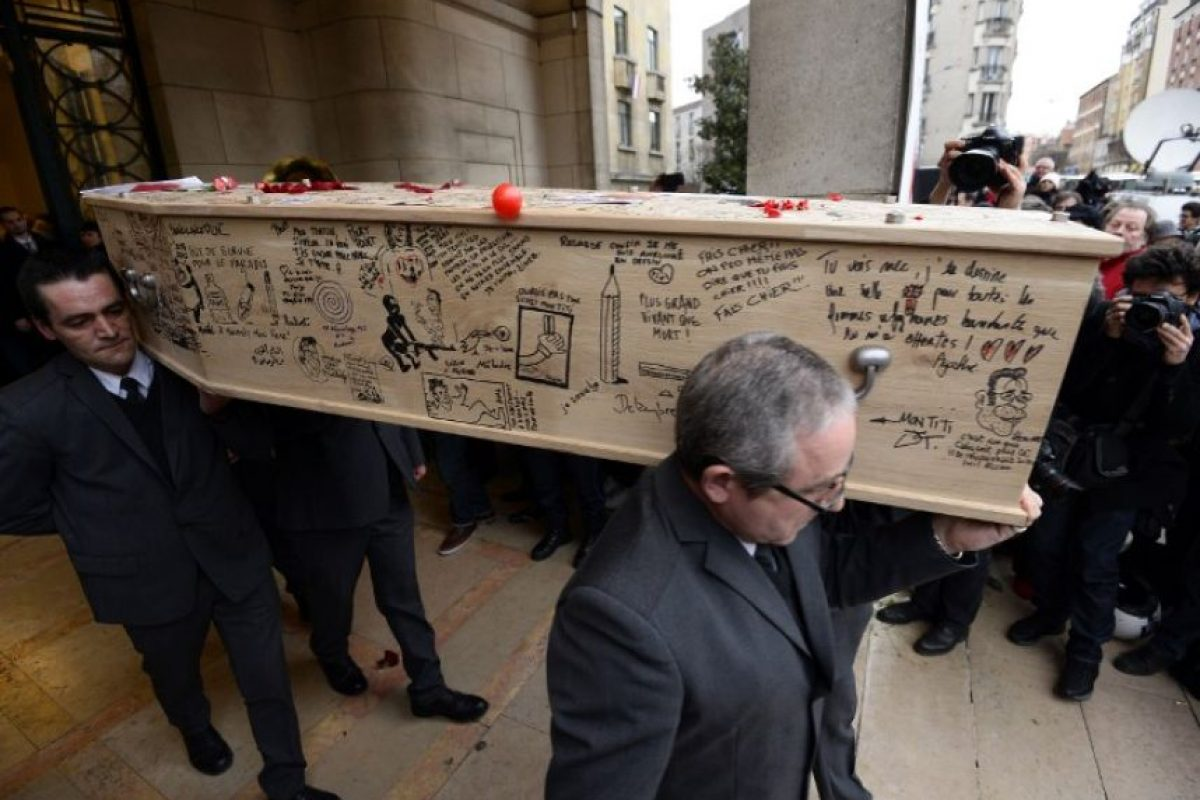 """Funeral de """"Charb"""", redactor en jefe de Charlie Hebdo Foto:AFP"""