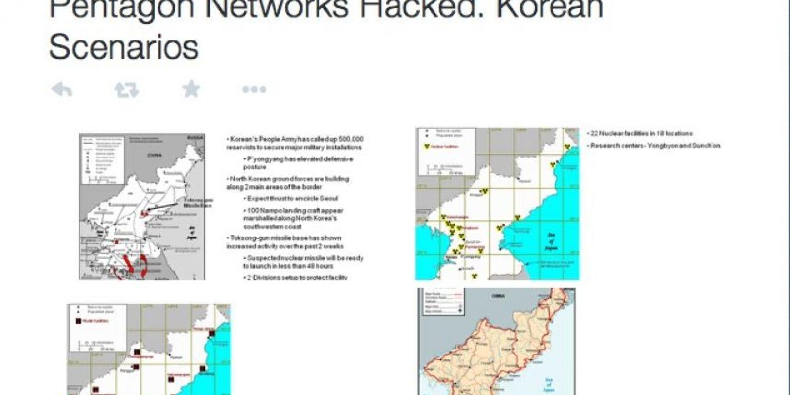 Supuestamente también se revelaron planes del Pentágono sobre Corea del Norte Foto:Twitter