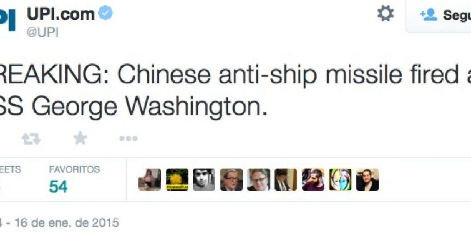 Último momento: Misil chino antibuques disparado en contra del USS George Washington Foto:Twitter