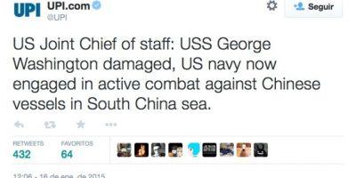 """Estado mayor: """"El USS George Washington se encuentra dañado. La Marina Estadounidense se encuentra en combate activo en contra de los buques chinos en el mar de China Meridional"""" Foto:Twitter"""