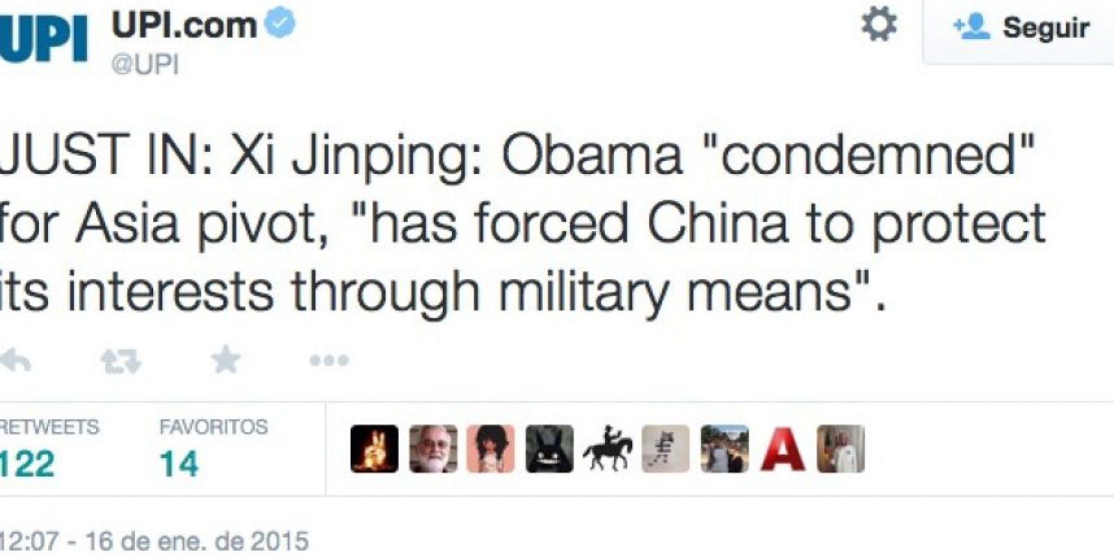 """""""Actualización: Xi Jinping: 'Obama ha obligado a China a proteger sus intereses a través de medios militares"""" Foto:Twitter"""
