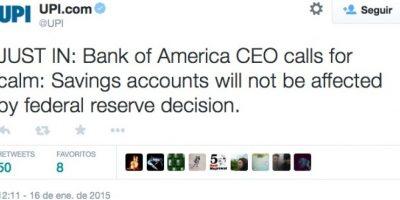 """Actualización: """"El CEO del Bank of América llama a la calma. Las cuentas de ahorro no se verán afectadas por decisión de la Reserva Federal"""". Foto:Twitter"""
