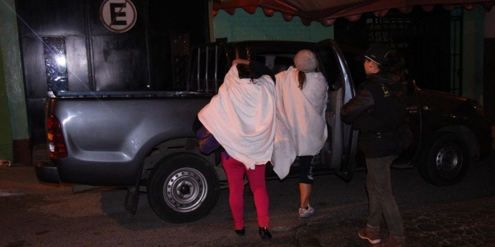 Llevadas a un albergue temporal. Foto:PNC
