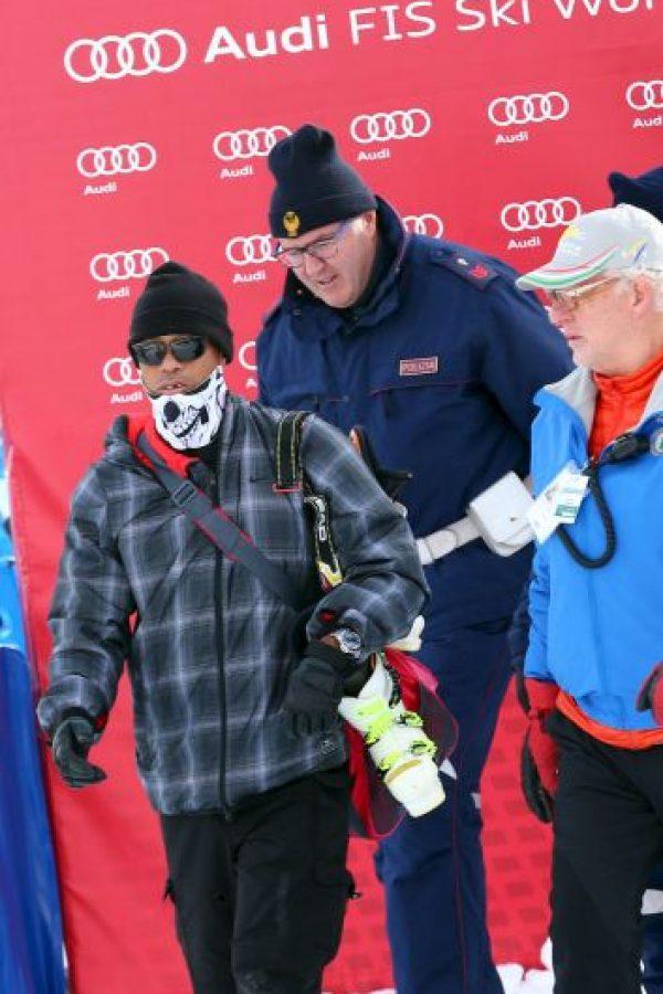El golfista estadounidense se presentó así a la competencia de su novia, la esquiadora Lindsey Von Foto:Getty