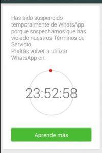 Así avisa WhatsApp que su cuenta ha sido suspendida temporalmente. Foto:Twitter