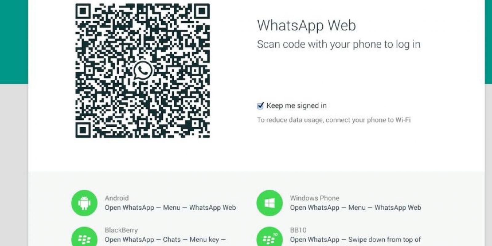 El código que deben escanear desde Chrome. Foto:WhatsApp