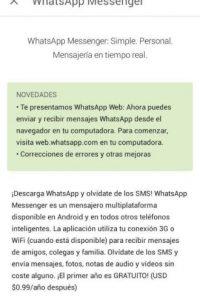 Esta actualización permite utilizar Whatsapp Web. Foto:WhatsApp