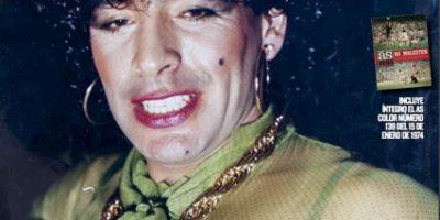 FOTO: Así se ve Diego Maradona con maquillaje y vestido de mujer