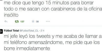 Su jefe lo amenazó y también le dijo que borrase los tweets o lo sacaría con ayuda de las autoridades de ese lugar. Foto:Twitter/FútbolTotal Chile