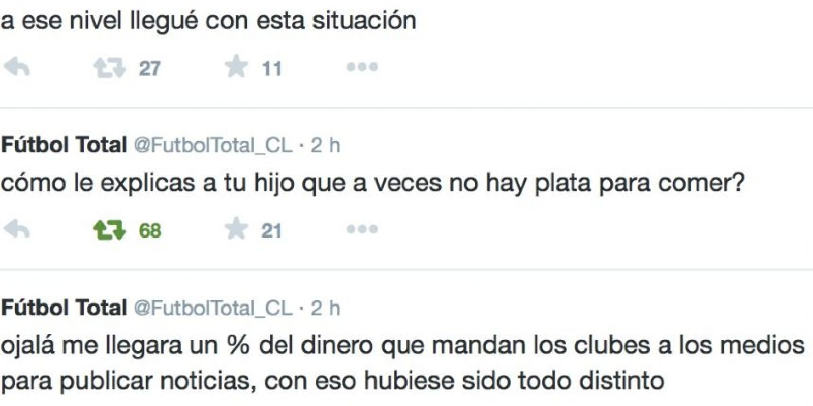 Siguió denunciando sus condiciones de trabajo. Foto:Twitter/FútbolTotal Chile
