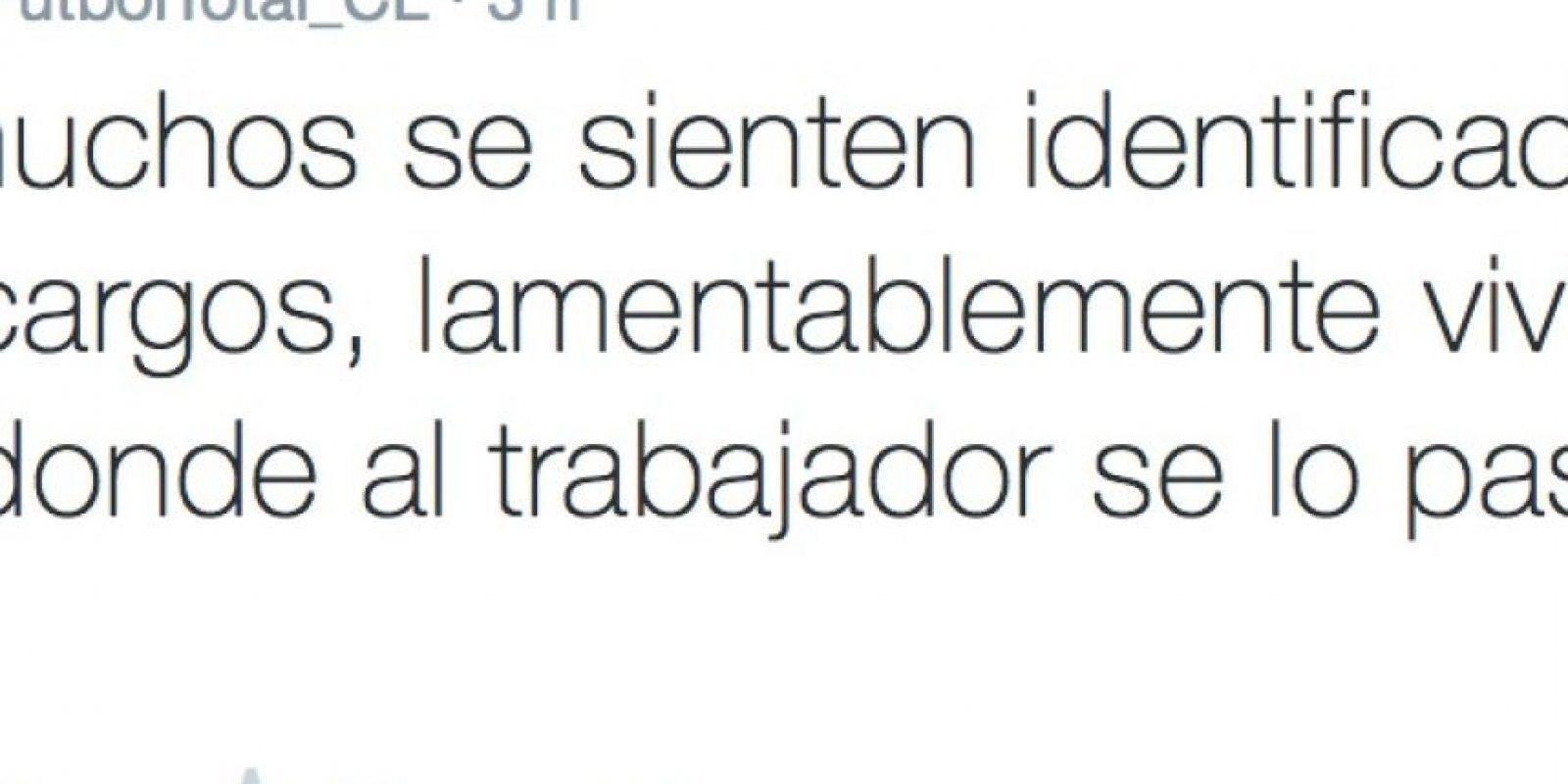 """El """"community mánager"""" del medio """"Fútbol Total"""" de Chile, comenzó a denunciar, repentinamente, todo lo que le ocurría en su empresa. Foto:Twitter/FútbolTotal Chile"""