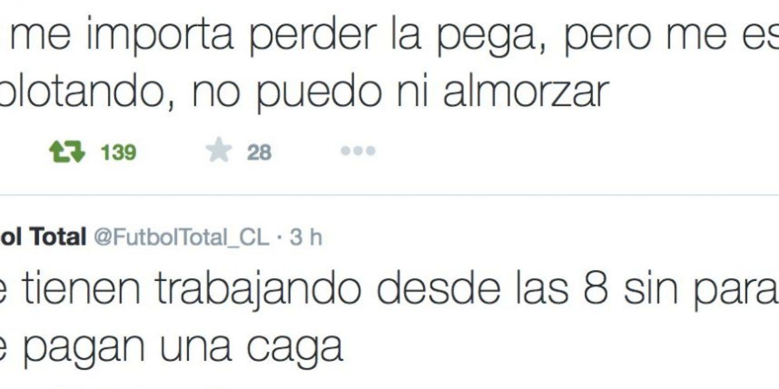 Dice que no puede ni comer y que le pagan muy mal. A veces, ni le pagan. Foto:Twitter/FútbolTotal Chile