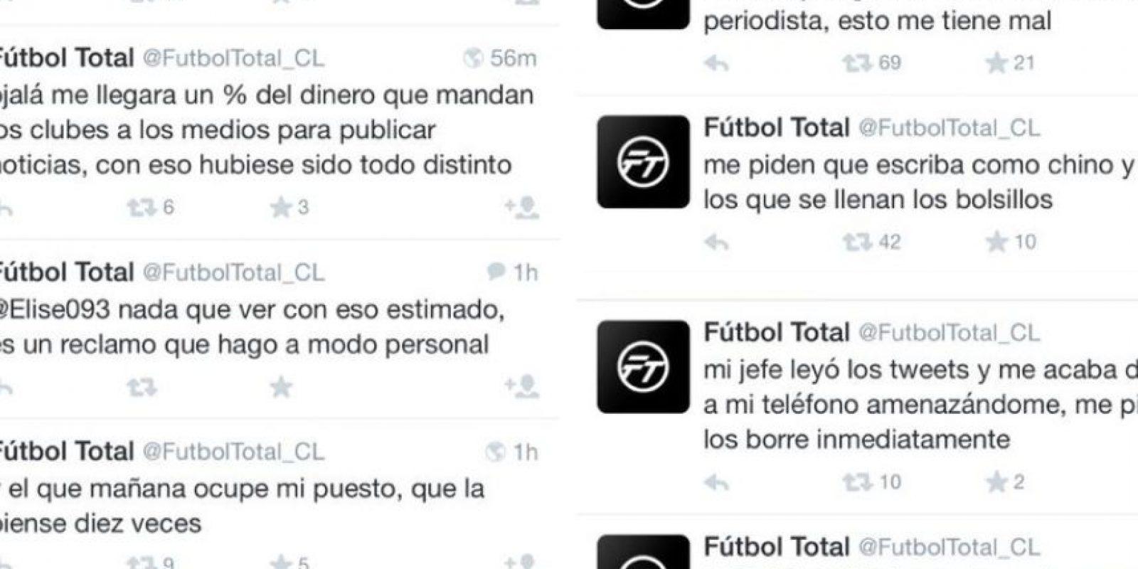 En Twitter ha recibido apoyo y críticas por parte de usuarios de todo el mundo. Foto:Twitter/FútbolTotal Chile