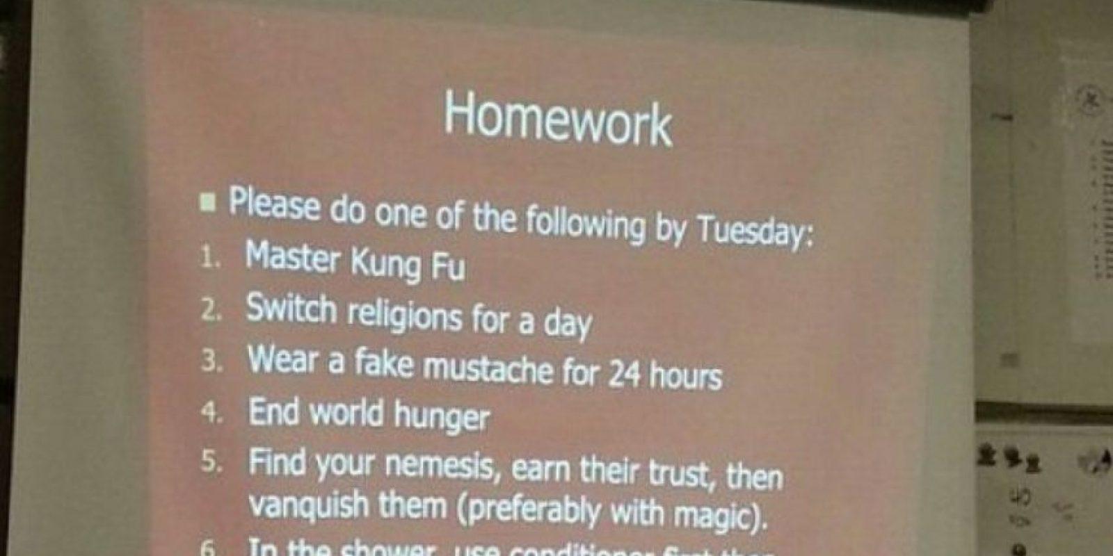 Hacer tareas como aprender Kung Fu Foto:Twitter