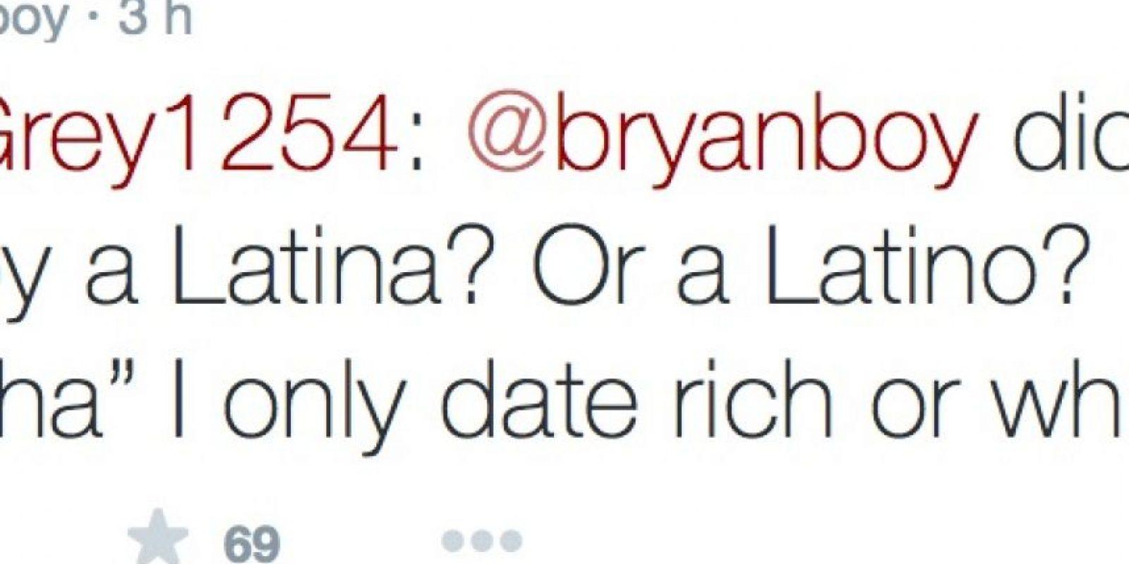 """Y cuando le preguntaron si algún latino le hizo daño, solo dijo: """"Salgo con blancos y ricos"""" Foto:Twitter"""