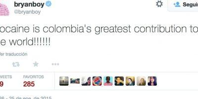 """Pero se ganó la indignación de los colombianos al comentar en Miss Universo que la """"mayor contribución de Colombia al mundo fue la cocaína"""" Foto:Twitter"""