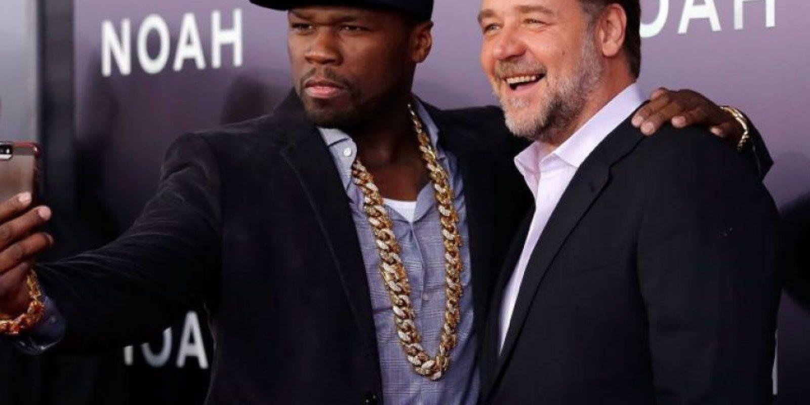 """50 Cent y el actor Russell Crowe durante la premiere de """"Noé"""" Foto:Getty Images"""