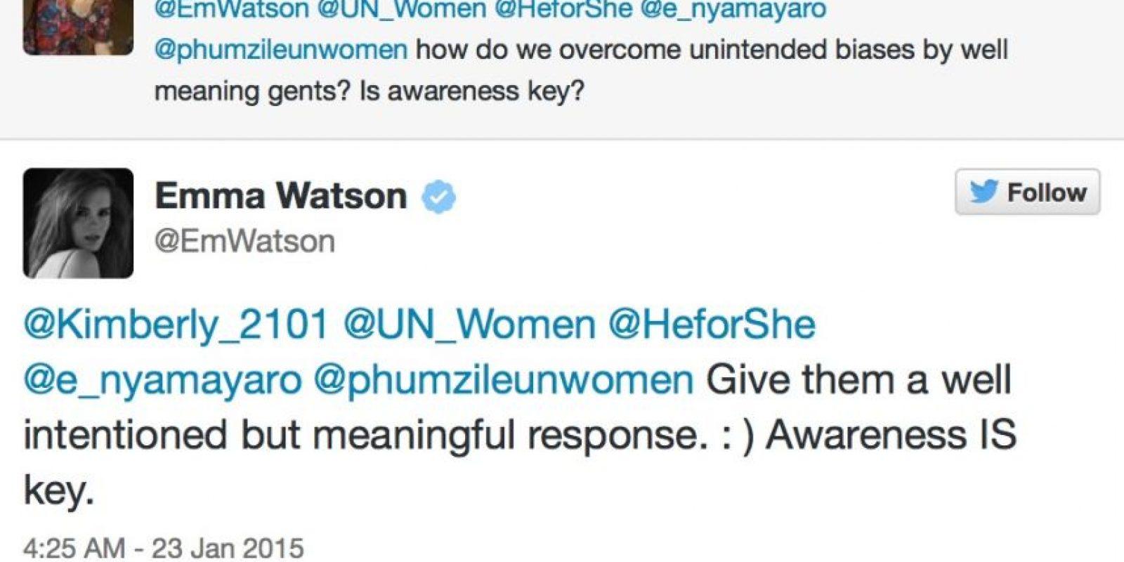 """""""¿Es concientizar la clave?"""" Emma Watson: Por supuesto que lo es. Foto:Emma Watson/Twitter"""