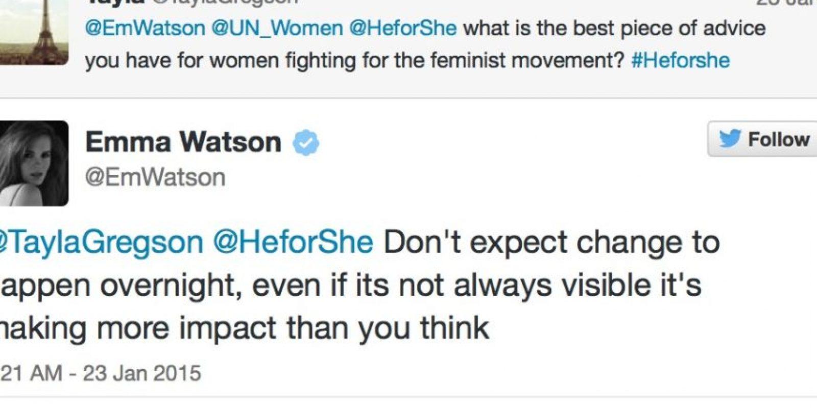 """""""¿Cuál es el mejor consejo para una feminista?"""" Emma: """"No esperes un cambio de la noche a la mañana. Pero aunque no sea visible, tiene más impacto del que te imaginas"""" Foto:Emma Watson/Twitter"""