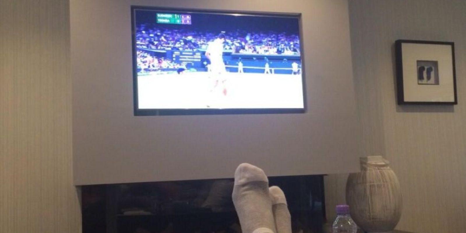La esposa de Djokovic observando el encuentro. Foto:JelenaRisticNDF