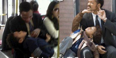 """Will y Jaden Smith en """"En Busca de la Felicidad"""" Foto:Parecidos De Bondis/Facebook"""
