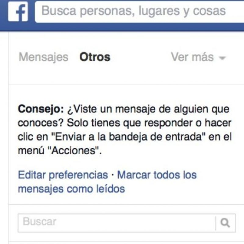 """Si desean consultar un mensaje de personas que no tienen agregados, estos aparecen en """"Otros"""", los cuales se pueden consultar en el menú """"Mensajes"""", ubicado en el costado izquierdo del Newsfeed. Foto:Facebook"""