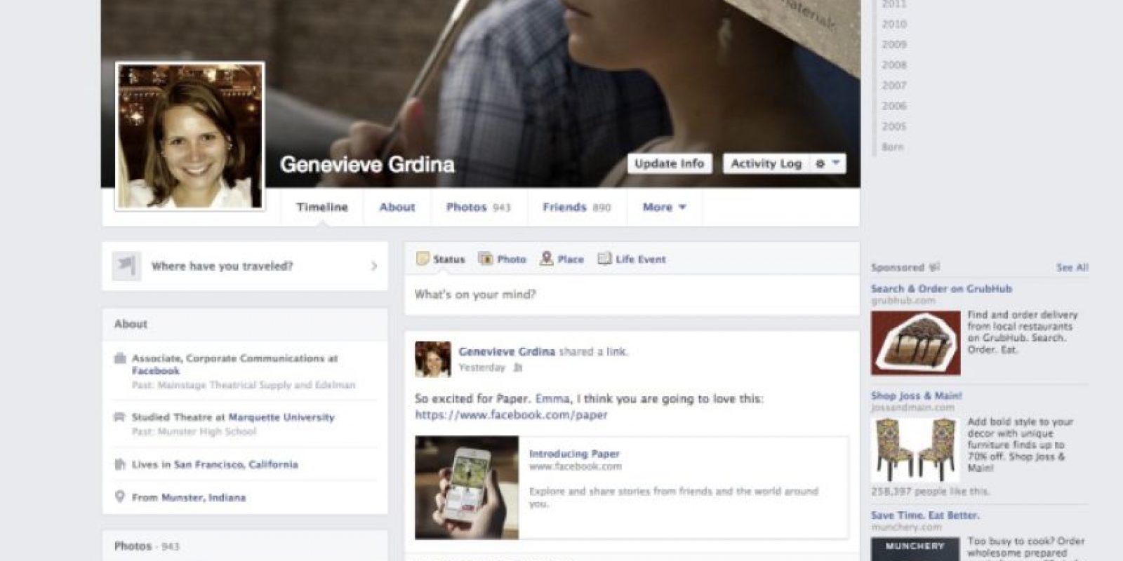 """2013-2014. Facebook introduce una aplicación llamada """"Paper"""" y se los colores se vuelven más sutiles. Foto:Facebook"""